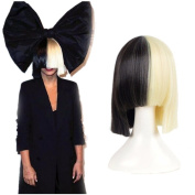 HairPhocas Half Blonde and Black 2 Tone Hair Short Straight Cosplay Costume Wig for Women
