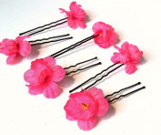 Bright Pink Babys Breath Small Flower Hair Pins - Set of 6