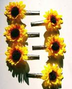 Small Sunflower Flower Hair Pins - Set of 6