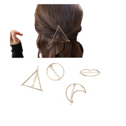 12 pcs Minimalist Dainty Gold and Silver mental Hair Clip Circle Triangle Moon Lip etc.