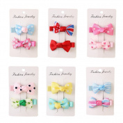 12Pcs 5.1cm Toddler Ribbon Hair Clips Baby Little Girls Boutique Hair Bows Hair Clips Baby Girls Toddlers Kids Barrettes