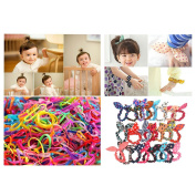 TS Girl's 1500 Elastic Rubber Ties and 20 PCS Rabbit Ear Hair Band Ponytail Holder Ropes