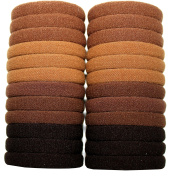 Syleia 24 Hair Ties For All Hair Types No Damage No Metal Elastics Light and Dark Brown Colours