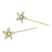 Rosemarie Collections Women's Set of 2 Sparkle Crystal Flower Hair Clip Pins