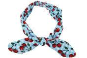 Liquorbrand 60's blue gingham cheque and cherry printed Campus Elastic Headband
