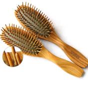VAMIX Natural Wooden Green Sandalwood Hair Brush - No Static Detangling Scalp Cushion Massage Hair Comb