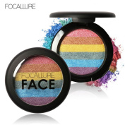 Mandy Focallure Rainbow Highlight Eyeshadow Palette Baked Blush Face Shimmer Palatte