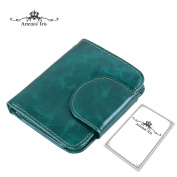Artemis'Iris Compact Large Capacity Trifold Wax Leather Short Wallet Luxury Clutch Money Cards Organiser With 2 ID/Photo Windows