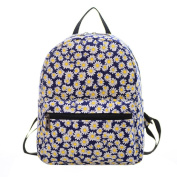 Urmiss Small Flowers Floral Leaf Graffiti Printed Canvas Casual Backpack Travel Shoulder Bag Students Schoolbag Rucksack for Kids Girls Boys and Women
