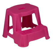 Sturdy Plastic Kids Step Stool Home Bathroom Kitchen Holds 45kg Maximum (Pink) by e2e