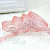 """FunnyPicker (25Yards/Roll) 3/8""""(10Mm) Metallic Glitter Ribbon Colourful Gift Package Ribbons Wholesale Flesh Pink"""