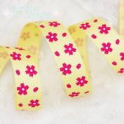 FunnyPicker (5 Yards/Lot) 22Mm Flower Printed Grosgrain Ribbon Printed Lovely Floral Series Ribbons Yellow