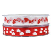 (2 Pack) Fowod Hearts Ribbon Craft Trim DIY Decoration,22 Yard/20m,15mm Wide,Red & White