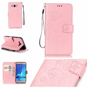 Galaxy J710 Case, ARSUE Premium Vintage Emboss Butterfly Flower PU Leather Wallet Case with Card Slots & Stand Flip Cover for Samsung Galaxy J7 2016 / J710 (Not Fit J7 2015) - Pink