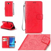 Galaxy J710 Case, ARSUE Premium Vintage Emboss Butterfly Flower PU Leather Wallet Case with Card Slots & Stand Flip Cover for Samsung Galaxy J7 2016 / J710 (Not Fit J7 2015) - Red