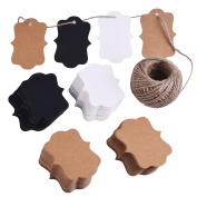 eBoot 200 Pieces Craft Paper Tags Kraft Gift Tags Hang Labels Valentine's Day Tags with 30 Metres Natural Twine