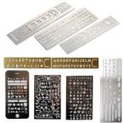 Loghot Set of 9 Creative Stainless Steel Portable Drawing Graffiti Web UI/IOS/Vintage Brass Alphabet & Number/Number Alphabet Rectangle Template Ruler Stencils