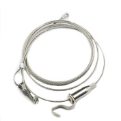 Bluemoona 2 pcs - Frames Hanger Hook Picture Wire Cable With Hanging 2m Kit Adjustable Height Clips