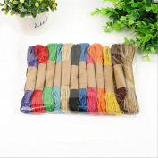 12 colours 120M 2mm Colourful Natural Jute Cord, Hemp Rope, Packing Tag Rope, Decorative Craft Thread