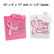 2 ~ Pray For A Cure Tote Bags / Gift Bags ~ Laminated Nonwoven Polyester ~ 38cm x 10cm x 43cm ~ New