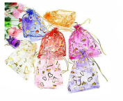 50PCS 13cm x 18cm Wedding Party Jewellery Part Festival Gift Bags Candy Bags Heart Shape Bronzing Organza Bags Drawstring Pouches Pocket