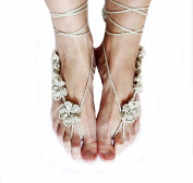 Ewandastore 2Pcs Summer Bridal Beach Wedding Foot Jewellery Gift Sexy Ankle Bracelet Crochet Barefoot Sandals for Women, New Nude Shoes