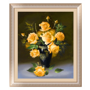 5D Diamond Painting Yellow Rose Flowers Pattern Cross Stitch Home Decoration