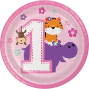 Creative Converting 324612 96Count Sturdy Style Dessert/Small Paper Plates, One is Fun- Girl, , One is Fun - Girl