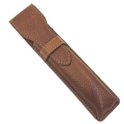 Genuine Saddle Brown Leather Protective/Travel Case for Straight, Shavette and Barber Razors - from Parker Safety Razor
