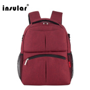 Insular Vivian Classic Double zipper Knapsack Nappy Backpack Oxford for Baby Travel Hiking Outdoor.