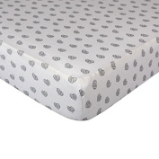 Living Textiles Fitted Sheet - Sketched Hearts, Multi