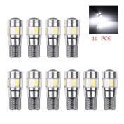 10Pcs T10 W5W 168 194 6SMD 5630 LED Wedge Light Side Bulbs Canbus Error Free 12V White