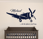 Custom Name Transportation Theme - Aeroplane in the Sky for my Baby - Baby Boy / Girl - Wall Decal Nursery For Home Bedroom Children (AM)