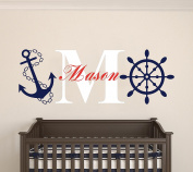 Custom Name & Initial Rudder & Anchor - Nautical Theme - Baby Boy - Wall Decal Nursery For Home Bedroom Children (520)