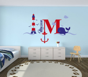 Custom Name & Initial Lighthouse and Anchor - Nautical Theme - Baby Boy - Wall Decal Nursery For Home Bedroom Children (520)