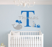 Custom Name Baby Whale Crab - Nautical Aquatic Animals Theme - Baby Boy - Wall Decal Nursery For Home Bedroom Children (AM)