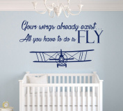 Your Wings Already Exist Quote - Nursery Aeroplanes in the Sky for my Baby - Baby Boy / Girl - Wall Decal Nursery For Home Bedroom Children (AM)