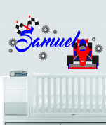 Custom Name Transportation Theme - F1 Racecar - Baby Boy / Girl - Wall Decal Nursery For Home Bedroom Children (559)