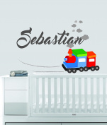 Custom Name Transportation Theme - Colourful Train - Baby Boy / Girl - Wall Decal Nursery For Home Bedroom Children (562)