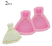 123Arts Wedding Princess Dress Food Grade Silicone Pastry Fondant Cakes Moulds - 2PCS