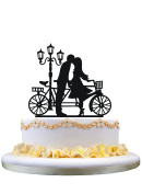 Wedding cake topper silhouette BF GF kissing beside Lamp and Tandem bicycle