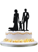 Family cake topper,bride and Groom with their little boy