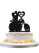 Motorcycle Couple Wedding Cake Topper with love heart