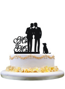 Gay wedding cake topper with dog, mr and mr cake topper