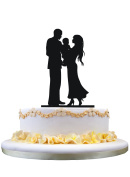 Wedding Cake Topper Silhouette Bride & Groom with a baby
