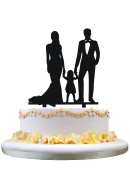 Family cake topper,bride and Groom with their little girl