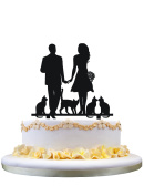 Bride and Groom with 4 cats wedding anniversary engagement cake topper