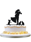 Cake decoration topper silhouette with three cats