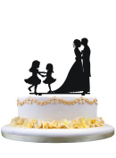 Bride and Groom wedding cake topper,silhouette with two girls