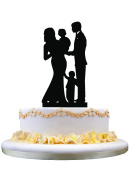 Silhouette Bride & Groom , baby with a little boy ,Happy Family Cake Topper